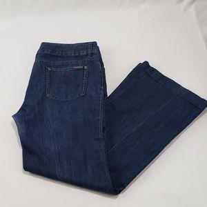 Michael Kors Dark Blue Denim Wide Leg Jean Pants